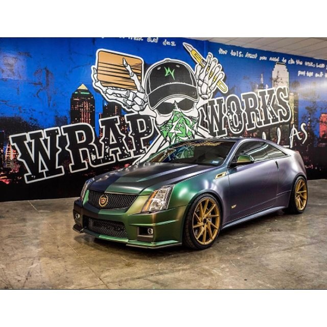 Cadillac Wrapped In Avery Colorflow Satin Urban Jungle