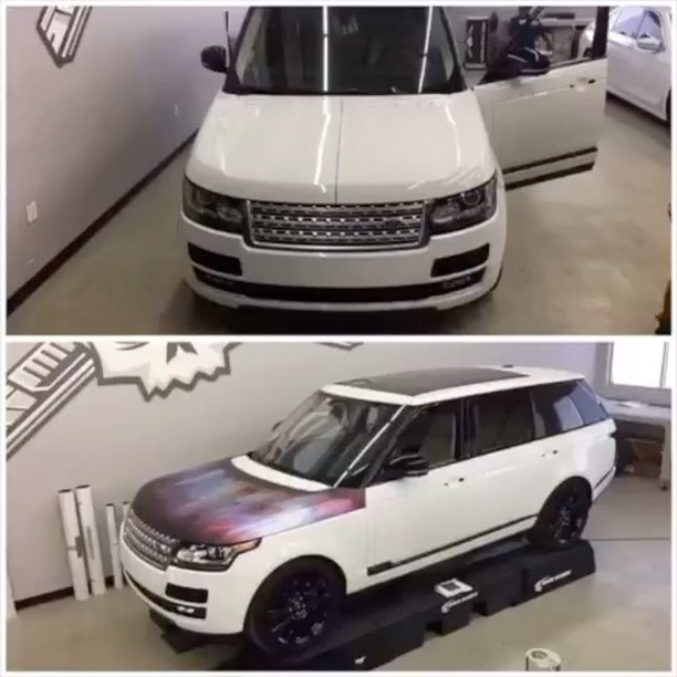 Range Rover wrapped in custom printed Orafol 3651 Clear with 3M 8915 Overlaminate over Avery SW Silver Chrome vinyl