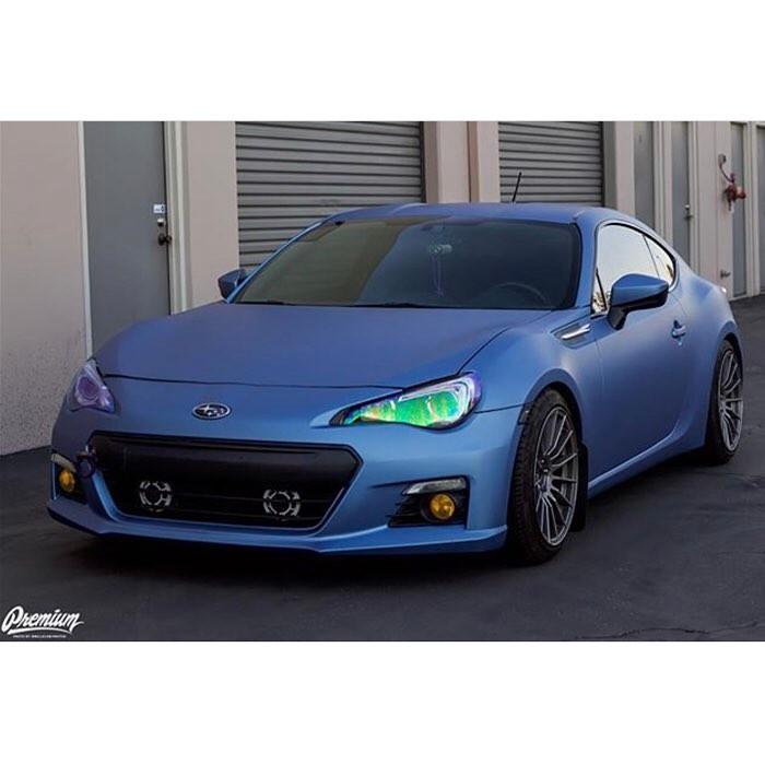 Subaru wrapped in Avery SW Matte Powder Blue Metallic vinyl