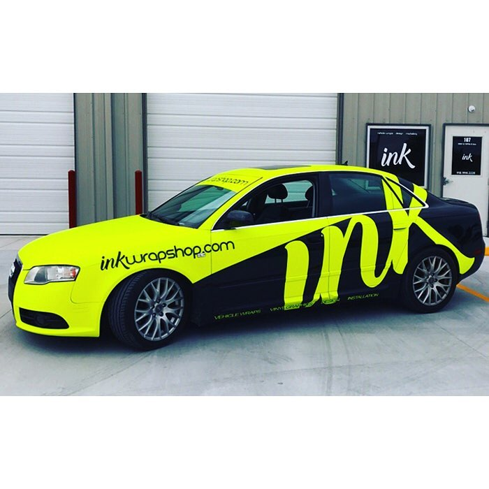 Audi Wrapped In Satin Neon Fluorescent Yellow Vinyl And