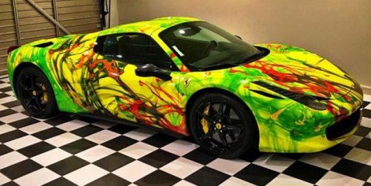 Ferrari wrapped in custom printed 3M 1080 Satin Fluorescent Neon yellow vinyl