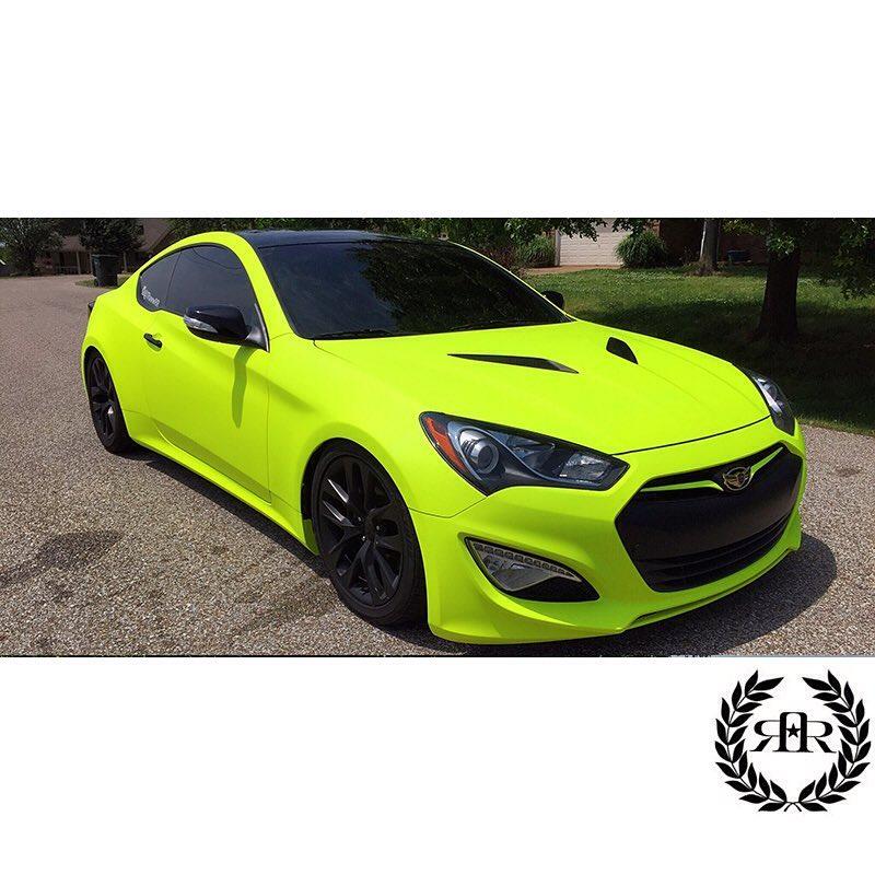 Hyundai wrapped in Arlon UPP Matte Fluorescent Hi Liter Yellow vinyl