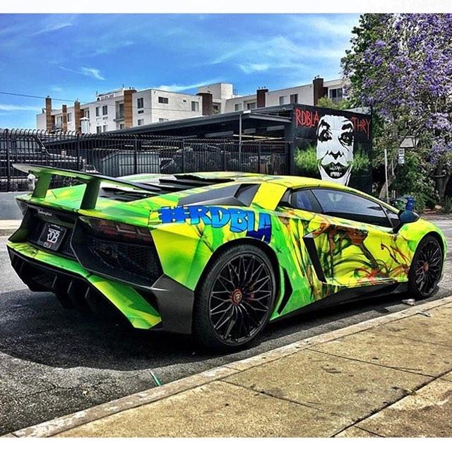 Lamborghini wrapped in custom printed 3M 1080 Satin Fluorescent Neon Yellow vinyl