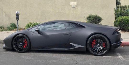 Lamborghini wrapped in Matte Deep Black vinyl