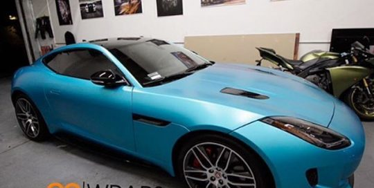 Jaguar wrapped in 1080 Satin Ocean Shimmer vinyl