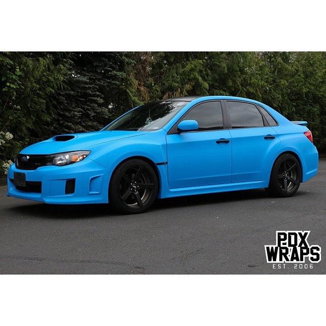 Subaru wrapped in 3M 1080 Matte Riviera Blue vinyl