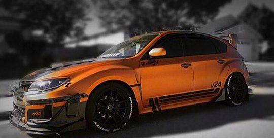 Subaru wrapped in 3M 1080 Satin Canyon Copper vinyl