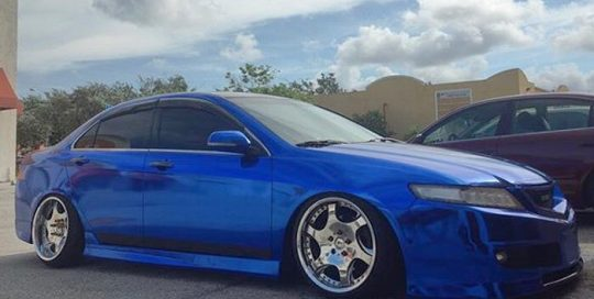Acura wrapped in Blue Chrome vinyl