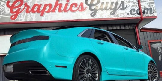 Lincoln wrapped in Avery SW Satin Azure vinyl
