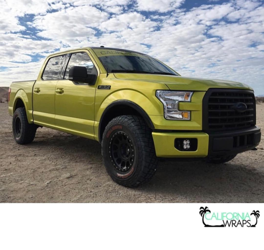 Ford wrapped in Arlon 2600LX Electric Lime vinyl
