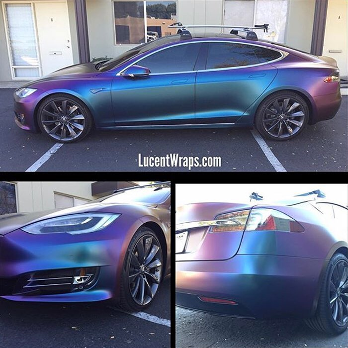 Tesla Wrapped In Avery Colorflow Satin Rushing Riptide