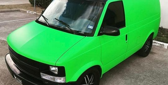 Chevrolet wrapped in 3M 1080 Satin Neon Fluorescent Green and Satin Black vinyls