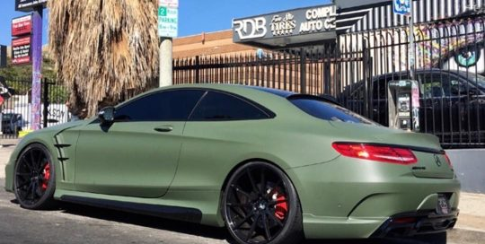 Mercedes Benz wrapped in Matte Military Green vinyl
