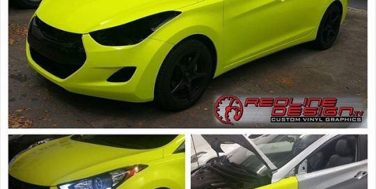 Hyundai wrapped in 1080 Fluorescent Satin Neon Yellow vinyl