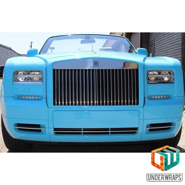 Rolls Royce wrapped in 3M 1080 Gloss Sky Blue vinyl