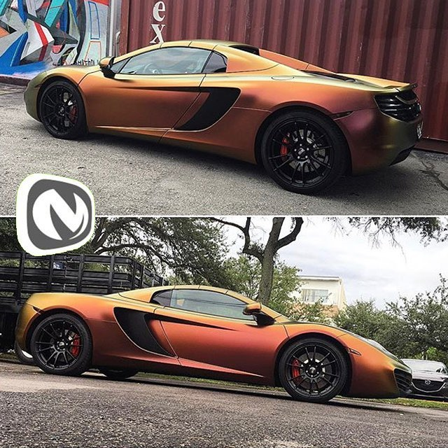 McLaren wrapped in Avery ColorFlow Satin Rising Sun Red/Gold shade shift vinyl