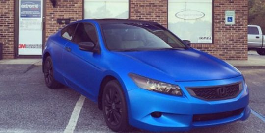 Honda Accord wrapped in Satin Perfect Blue vinyl