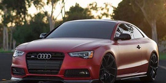 Audi wrapped in 3M 1080 Satin Smoldering Red vinyl