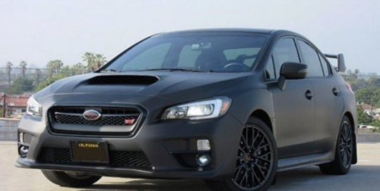 Subaru wrapped in 3M 1080 Matte Deep Black vinyl