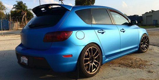 Mazda wrapped in 3M 1080 Matte Blue Metallic vinyl