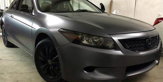 Honda Accord wrapped in Satin Dark Gray vinyl
