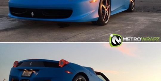 Ferrari wrapped in Matte Riviera Blue vinyl