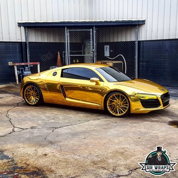 Audi wrapped in Avery SW Gold Chrome vinyl