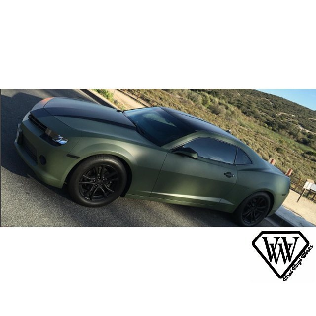 Chevrolet Camaro Wrapped In Matte Military Green Vinyl