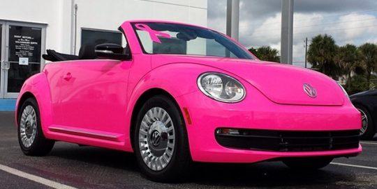 Volkswagen wrapped in Satin Neon Pink Fluorescent vinyl