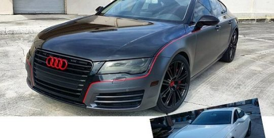 Audi wrapped in 1080 Gloss Black and Satin Dark Gray vinyls