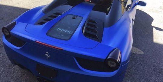 Ferrari wrapped in 3M 1080 Perfect Blue vinyl