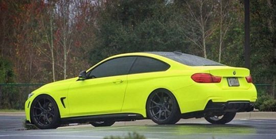 BMW wrapped in 1080 Satin Neon Fluorescent Yellow vinyl
