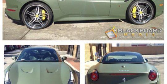 Ferrari wrapped in 3M 1080-M26 Matte Military Green