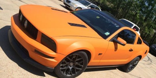 Ford Mustang wrapped in Avery SW900-321 Matte Orange