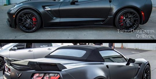 Corvette wrapped in 3M 1080-S12 Satin Black