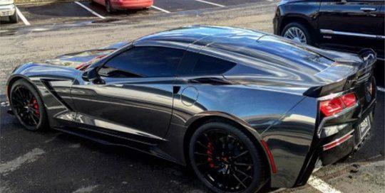 Corvette wrapped in Avery SW900-196 Black Chrome