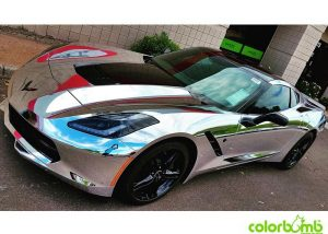 Corvette wrapped in Avery SW900-843 Silver Chrome
