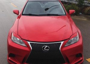 Lexus wrapped in 3M 1080-G363 Gloss Dragon Fire Red