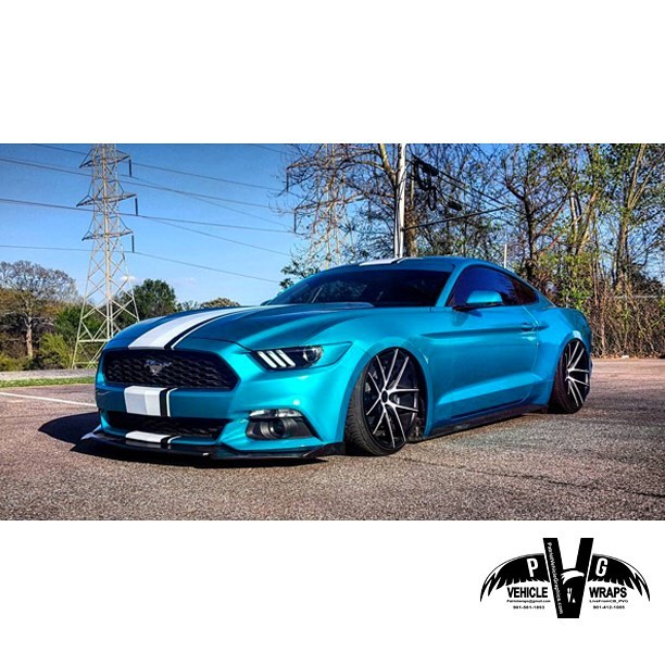 Mustang Wrapped In 3m 1080 G356 Gloss Atomic Teal