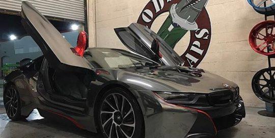 BMW wrapped in Avery SW Black Chrome vinyl