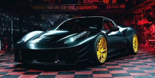 Ferrari wrapped in 3M 1080 Satin Black vinyl