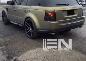Range Rover wrapped in Army Gold Metallic