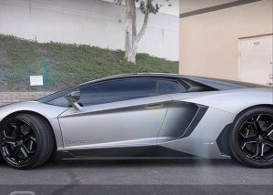 Lamborghini wrapped in Matte Grey Aluminum and Gloss Black vinyl