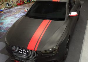 Audi wrapped in Matte Black and Matte Red vinyl