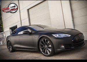 Tesla wrapped in Matte Deep Black