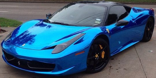 Ferrari wrapped in Avery SW Blue Chrome