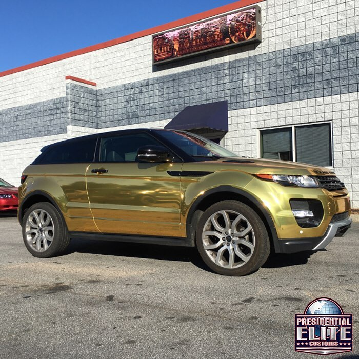 Range Rover Wrapped In Avery Sw Gold Chrome Vinyl