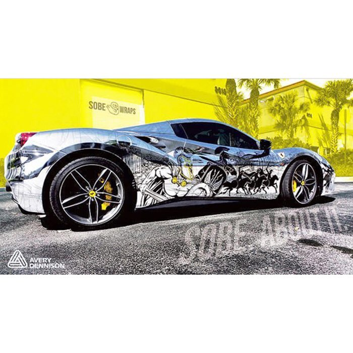 ferrari wrapped in custom printed avery sw silver chrome with 1060z