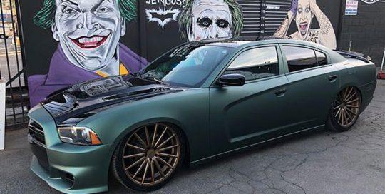 Dodge wrapped in 1080 Matte Pine Green Metallic vinyl