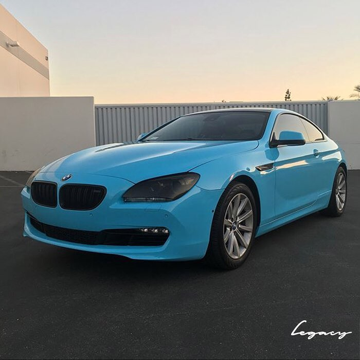 bmw wrapped in 1080 gloss sky blue vinyl